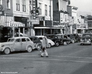 Howard W. Voland crossing Main St. 1953